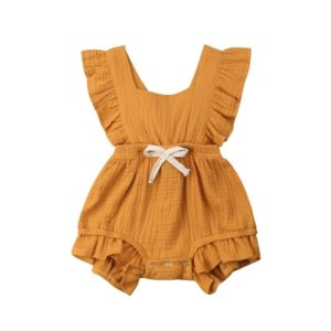 Baby Solid Color Sleeveless Ruffled Jumpsuit Back Strap Romper, Size:90cm(Yellow)