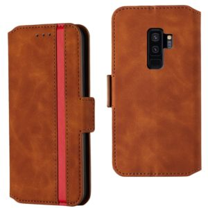 For Galaxy S9+ Retro Frosted Oil Side Horizontal Flip Case with Holder & Card Slots(Brown)