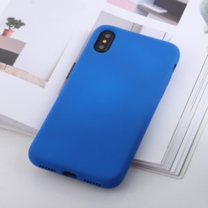 Shockproof Solid Color Liquid Silicone Feel TPU Case for iPhone XS Max (Blue)