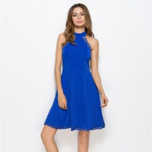 Women Hollow Sleeveless Round Neck Midi Dress (Color:Blue Size:S)