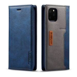 For iPhone 11 Pro Max LC.IMEEKE LC-001 Series PU + TPU Color Matching Frosted Horizontal Flip Leather Case with Holder & Card Slot(Blue) (LC.IMEEKE)