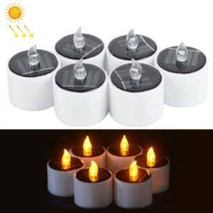 6 PCS Solar Power Candle Lamp, Warm White Light LED Energy Saving Atmosphere Night Light