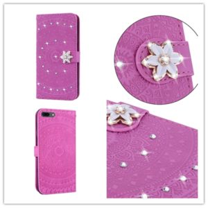 For iPhone 7 / 8 Pressed Printing Sticking Drill Pattern Horizontal Flip PU Leather Case with Holder & Card Slots & Wallet & & Lanyard(Violet)