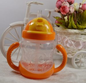 280ML Baby Bottle Kids Cup Silicone Sippy Children Training Cups Cute Baby Drinking Water Straw Handle Feeding Bottle(Orange)