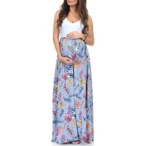 Round neck sleeveless print Pregnancy Splicing Dress, Size:L(Blue)