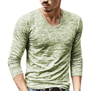 Slim Streetwear V-neck T Shirt Casual Fitness Tops Long Sleeve Pullover Shirt for Men(Grass Green)