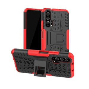 For Huawei Honor 20 Pro Tire Texture TPU + PC Shockproof Case with Holder(Red)