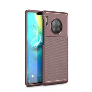 For Huawei Mate 30 Pro Beetle Series Carbon Fiber Texture Shockproof TPU Case(Brown)