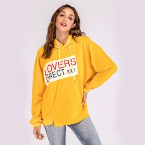 Hooded Print Sweatshirt (Color:Yellow Size:M)
