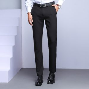 Spring Fall Straight Loose Black Business Casual Career is Sturdy Trousers, Size: 36(Black )