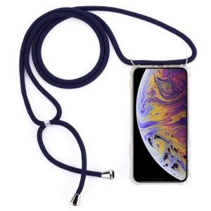 Four-Corner Anti-Fall Transparent TPU Mobile Phone Case With Lanyard for iPhone XS Max(Dark Blue)