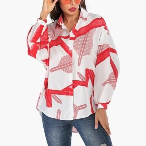 Casual Geometric Print Shirt (Color:6142 Red Size:M)