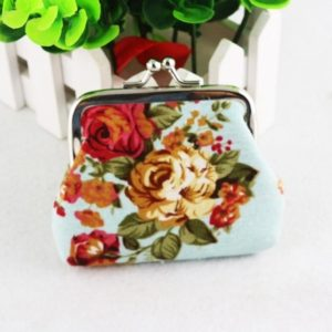 4 PCS Women Coin Purse Retro Flower Clutch Hasp Purse(Light Blue)
