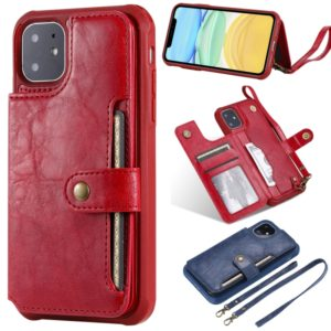 For iPhone 11 Buckle Zipper Shockproof Protective Case with Holder & Card Slots & Wallet & Lanyard & Photos Frame(Red)