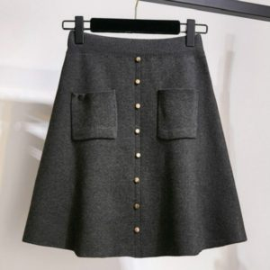 Autumn and Winter Solid Color Buckle High Elastic Knit Skirt, Size: One Size( Gray )