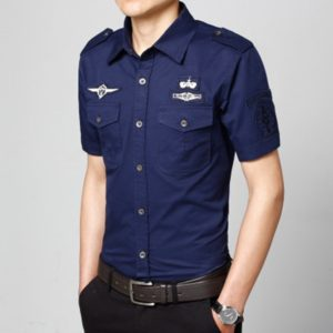 Fashion Casual Military Solid Color Pocket Short Sleeve Loose Turn-down Collar Shirt, Size:L(Dark Blue)