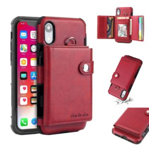 For iPhone XR Shockproof PC + TPU Protective Case, with Card Slots & Wallet & Photo Frame & Lanyard(Wine Red)
