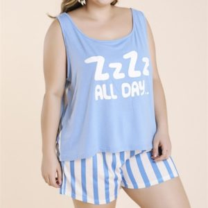 Letter Printed Round Neck Vest with Striped Shorts Large Size Tracksuit (Color:Blue Size:XXL)