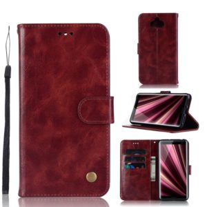 For Sony Xperia 10 Plus Retro Copper Button Crazy Horse Horizontal Flip PU Leather Case with Holder & Card Slots & Wallet & Lanyard(Wine Red)