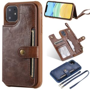 For iPhone 11 Buckle Zipper Shockproof Protective Case with Holder & Card Slots & Wallet & Lanyard & Photos Frame(Coffee)