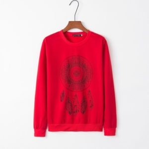Ethnic Style Printed Round Neck Long Sleeve Women s Sweatershirt (Color:Red Size:M)