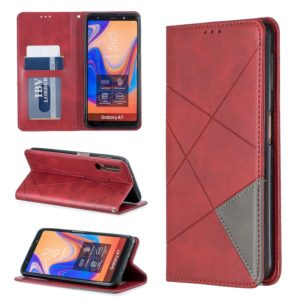 Rhombus Texture Horizontal Flip Magnetic Leather Case with Holder & Card Slots For Galaxy A7 (2018)(Red)
