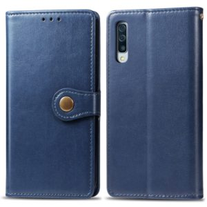 Retro Solid Color Leather Buckle Mobile Phone Protection Leather Case with Photo Frame & Card Slot & Wallet & Bracket Function for Galaxy A70(Blue)