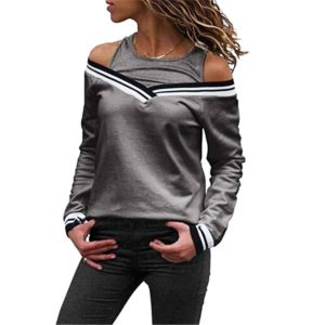 Ladies Fake Two-Piece Small Sweater Long-Sleeved Striped Loose T-Shirt, Size: XXL(Gray)
