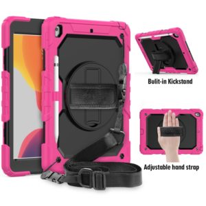 For iPad 10.2 Shockproof Colorful Silica Gel + PC Protective Case with Holder & Shoulder Strap & Hand Strap & Pen Slot(Hot Pink)