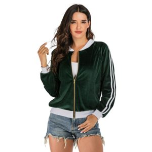 Solid Color Women Long Sleeve Slim Baseball Jacket (Color:Green Size:S)