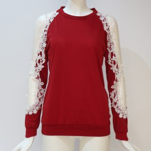 Round Neck Hollow Strapless Lace Stitching Long-sleeved T-shirt, Size: XL(Red)