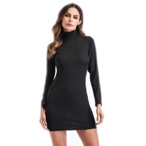 Women Turtleneck Round Neck Long Sleeve Midi Long Bottoming Dress (Color:Black Size:L)
