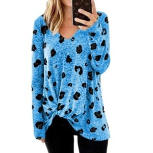 V-neck Long-sleeved T-shirt Top (Color:Blue Size:XXXL)