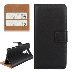 Horizontal Flip Top-grain Leather Case with Card Slots & Holder for LG G3 (Black)