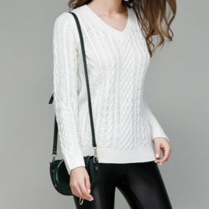 Autumn and Winter V-neck Solid Color Long-sleeved Pullover Sweater, Size: L(White )