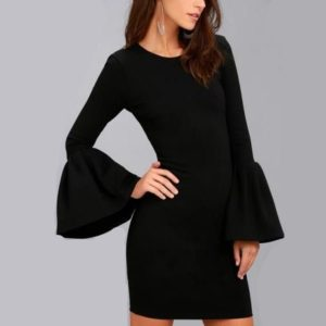 Flare Sleeve Long Sleeve Slim Dress (Color:Black Size:XL)