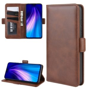 For Xiaomi Redmi Note 8 Double Buckle Crazy Horse Business Mobile Phone Holster with Card Wallet Bracket Function(Brown)
