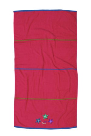 Πετσέτα Θαλάσσης Embroidered Beach Towels Sea Time Με Απλικέ Fuchsia Cotton Anna Riska (90x160) 1Τεμ