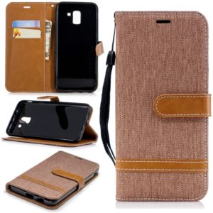 Color Matching Denim Texture Leather Case for Galaxy J6 , with Holder & Card Slots & Wallet & Lanyard(Brown)