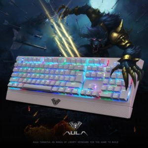 AULA Wings of Liberty Series RGB Light Backlit USB Wired Mechanical Axis Gaming Keyboard(White) (AULA)