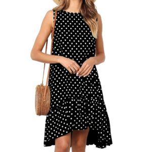 Printing flounced Dot Pattern Dress (Color:Black Size:XXL)