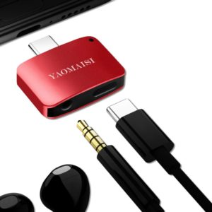 YAOMAISI 3 in1 Charge / Listen / Call Type-C Audio Converter, For Galaxy S8 & S8 + / LG G6 / Huawei P10 & P10 Plus / Xiaomi Mi 6 & Max 2 and other Smartphones(Red) (YAOMAISI)