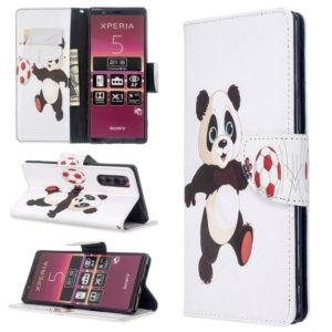 For Sony Xperia 5 / XZ5 Colored Drawing Pattern Horizontal Flip Leather Case with Holder & Card Slots & Wallet(Football Panda)