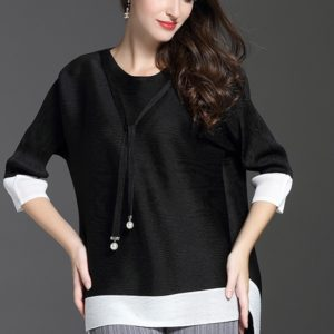 Sleeve T-shirt Loose Wild Fold(Color:Black Size:One size)