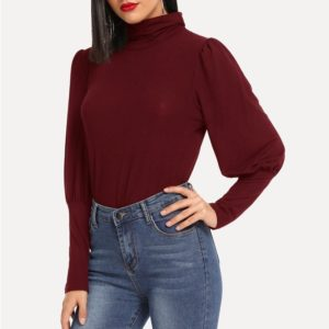 Pile Collared Lamb Leg Sleeves Long Sleeve T-shirt (Color:Red Size:XL)