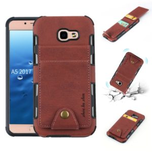 For Galaxy A5 (2017) Cloth Texture + TPU Shockproof Protective Case with Vertical Flip Card Slots(Brown)