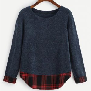 Plaid Stitching Sweater (Color:Dark Blue Size:M)