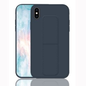 For iPhone XS Shockproof PC + TPU Protective Case with Wristband & Holder(Dark Blue)