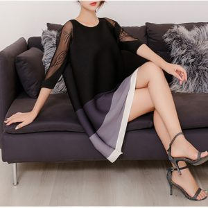 A Word Loose Fashion Style Mesh Dress (Color:Black Size:One Size)