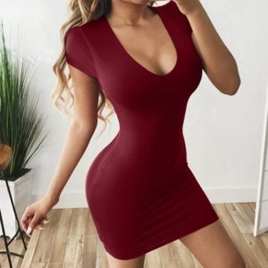 Sexy Solid Color Short Sleeve Dress (Color:Wine Red Size:M)